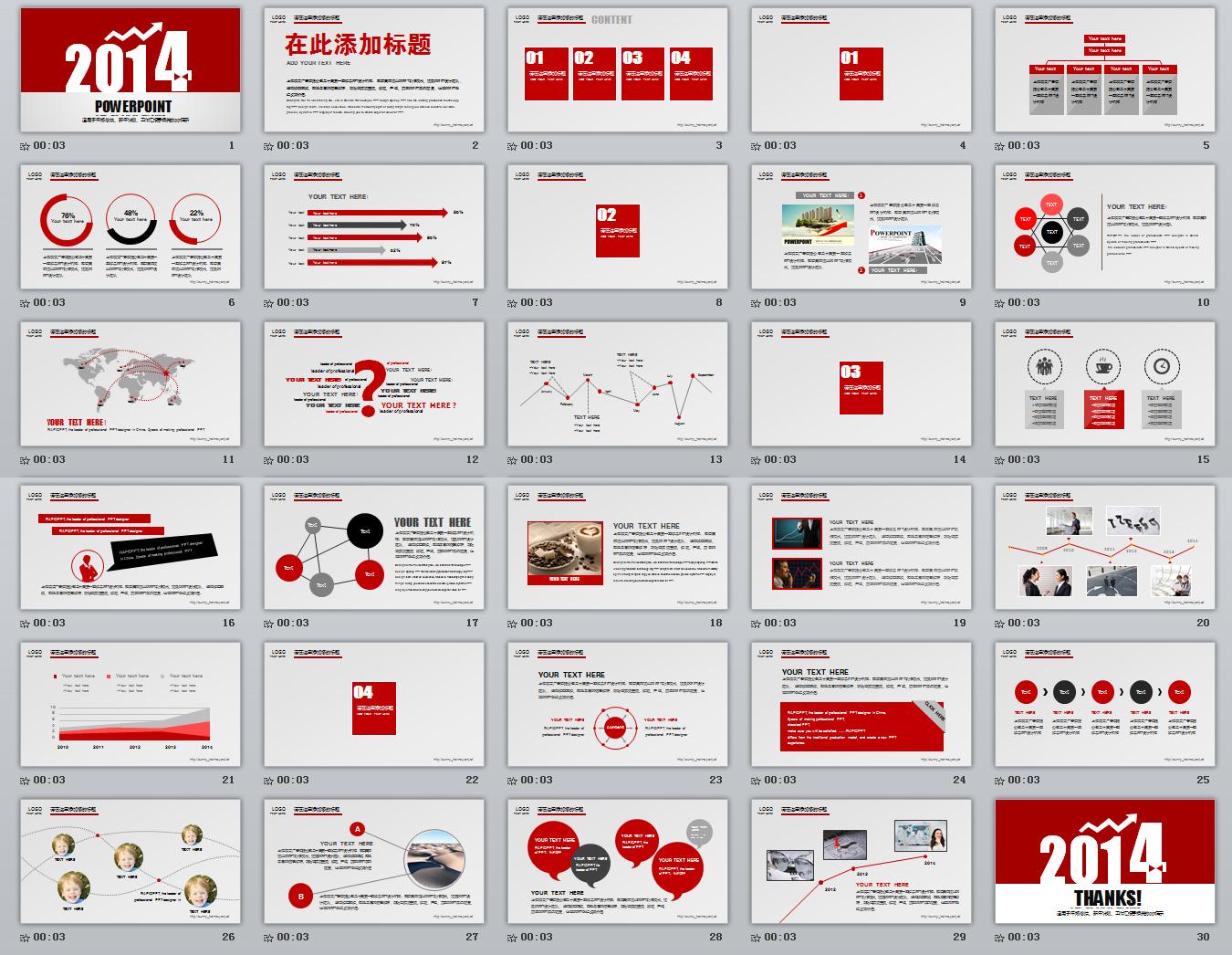 2014年度总结ppt模板